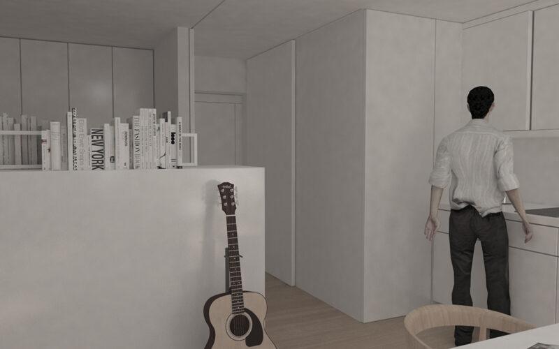04-Reforma de estudio-apartamento-pontedeume-vista-acceso-cocina